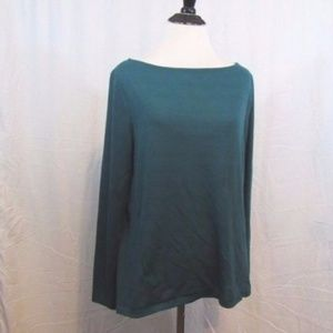 Ann Taylor Green Sheer Back Panel Top M